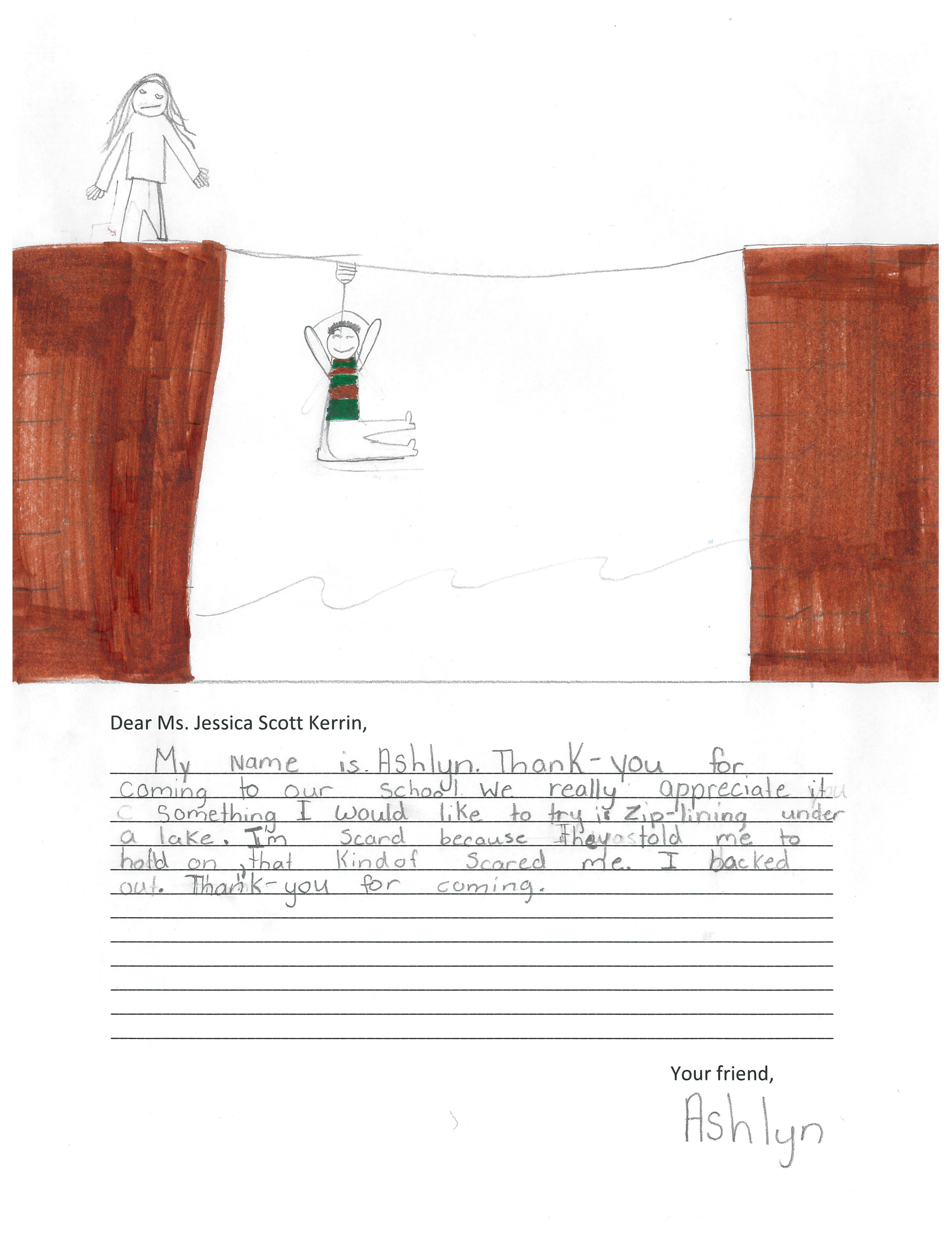 Child's drawing of ziplining