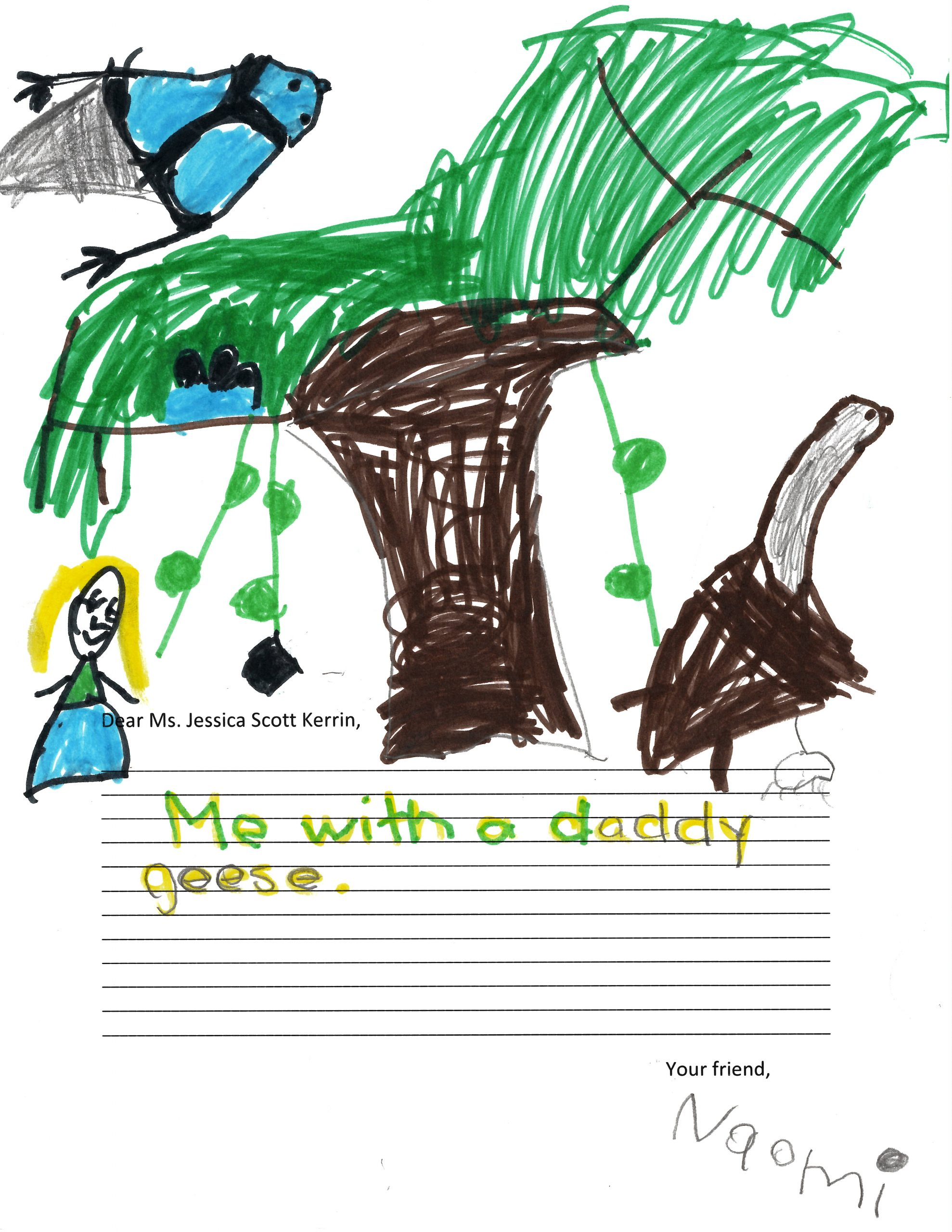 Child's drawing of birds and a tree