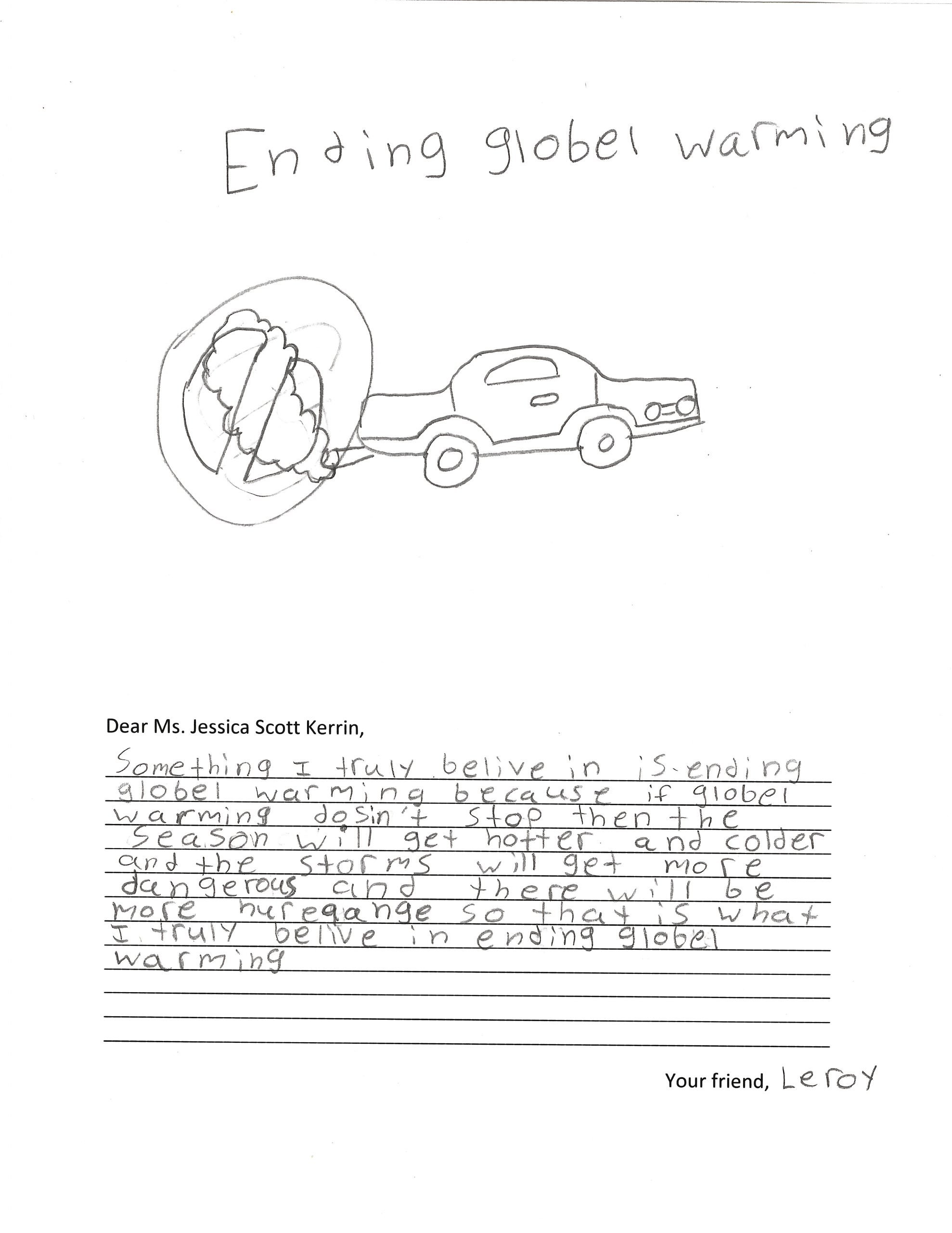 A child's drawing of car pollution