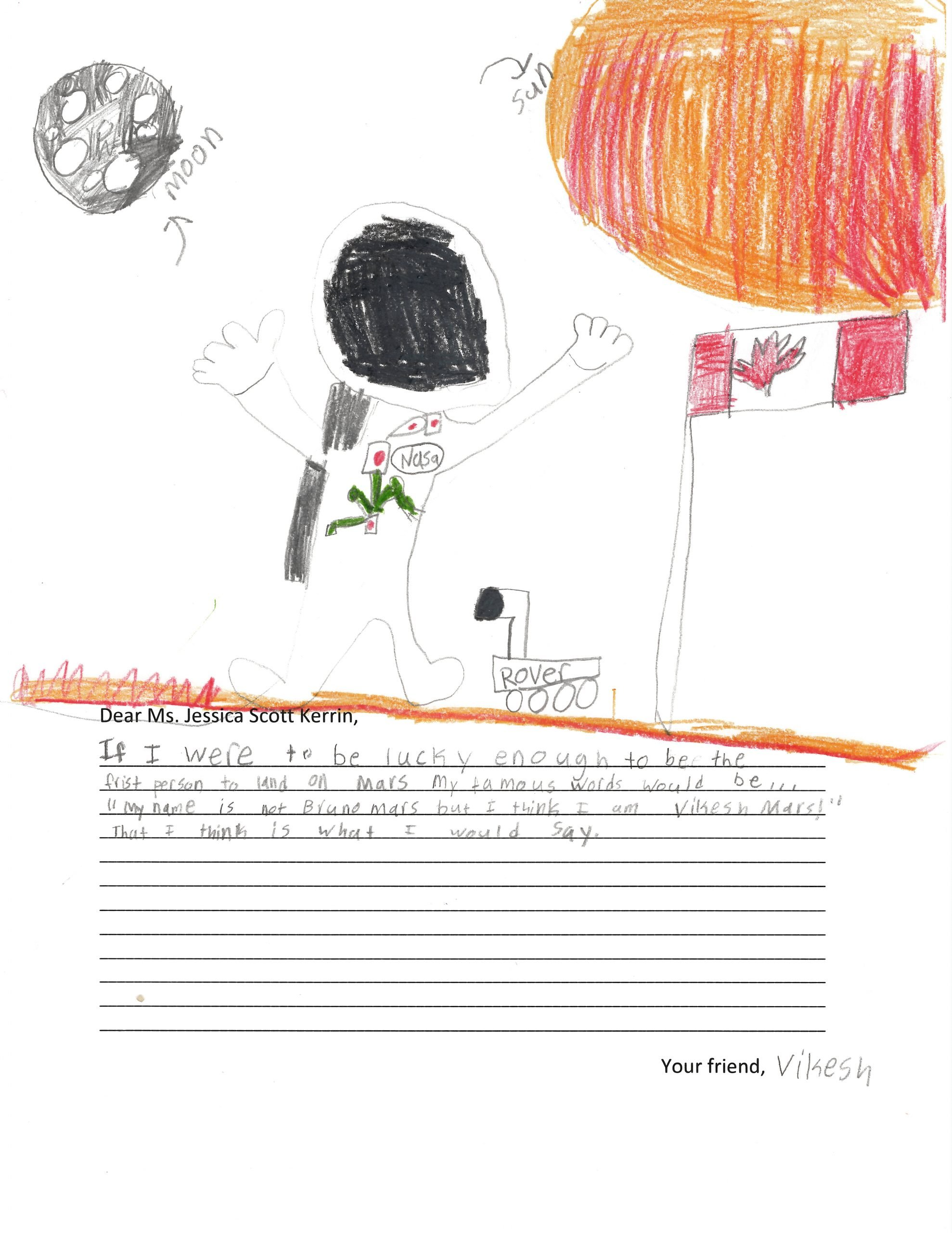Child's self-portrait as an astronaut on Mars